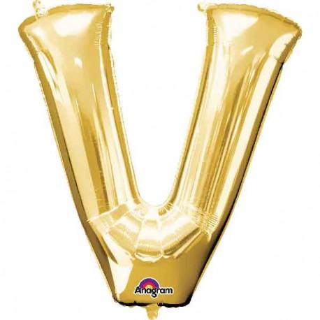 """Globos Foil de 32"""" (81cm) Letra V Oro Anagram"""
