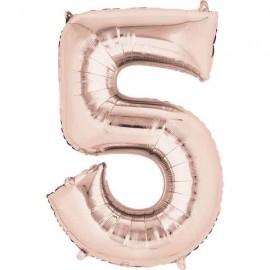 """Globos Foil 16"""" (40cm) Numero 5 Rosa Dorado"""