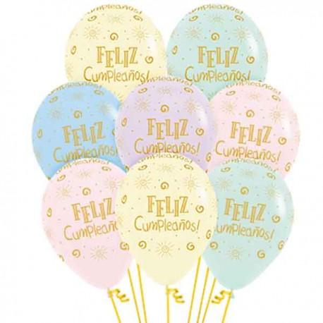 Globos R-12 (30Cm) Surtido feliz cumpleaños SOL