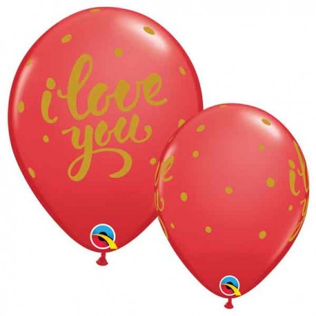 "Globos de 11"" ILY y puntos Qualatex"
