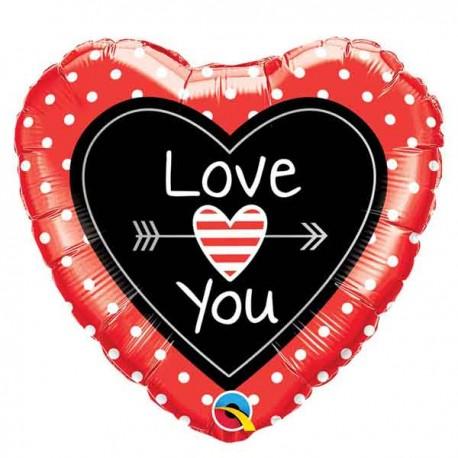 "Globos Foil 18"" (45Cm) LOVE YOU Flechas"