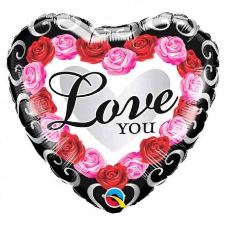 """Globos Foil 18"""" (45Cm) LOVE YOU Rosas"""