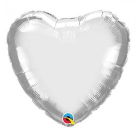 "Globos Foil Corazones de 18"" Chrome Plata"