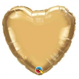 "Globos Foil Corazones de 18"" Chrome Oro"