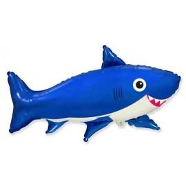 Globos Foil Supershape Tiburon Feliz Azul