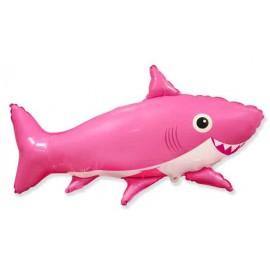 Globos Foil Supershape Tiburon Feliz Rosa