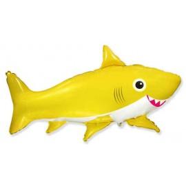 Globos Foil Supershape Tiburon Feliz Amarillo
