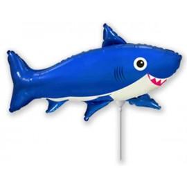Globos Foil MINIshape Tiburon Feliz Azul