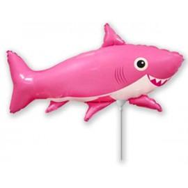 Globos Foil MINIshape Tiburon Feliz Rosa