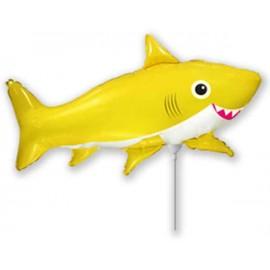 Globos Foil MINIshape Tiburon Feliz Amarillo
