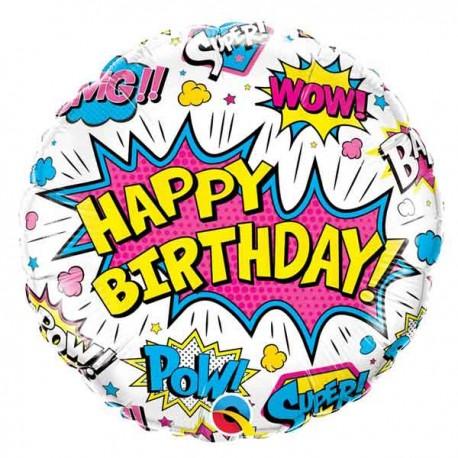 "Globos foil 18"" Birthday Super Hero Blanco"