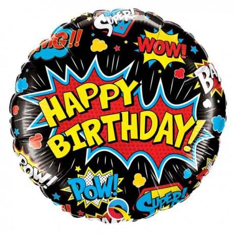 "Globos foil 18"" Birthday Super Hero Negro"