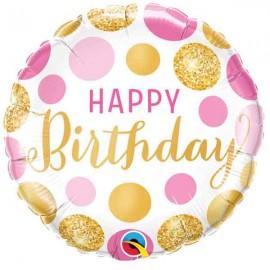 """Foil 18"""" (46Cm) Birthday puntos Rosas y Dorados"""