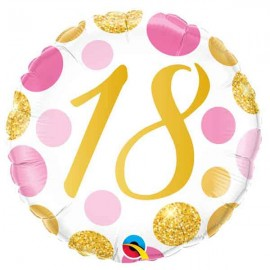 """Foil 18"""" (46Cm) Puntos Rosas y Dorados 18"""