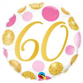 """Foil 18"""" (46Cm) Puntos Rosas y Dorados 60"""
