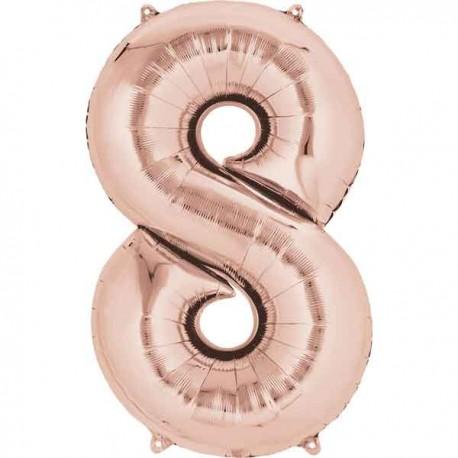"""Globos Foil 16"""" (40cm) Numero 8 Rosa Dorado"""