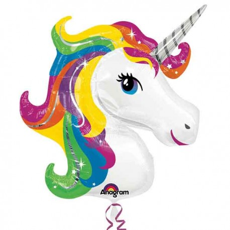 """Globos de foil supershape de 33"""" X 29"""" Unicornio colorido"""