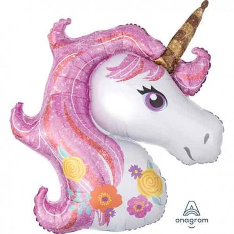 "Globos foil Shape 33"" x 29"" Unicornio Florido"