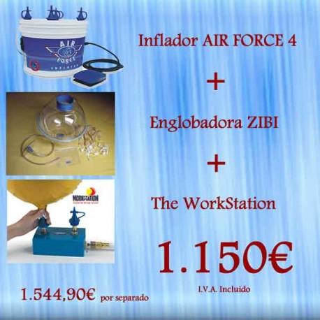 Englobadora Zibi + Inflador Air Force 4 + Workstation
