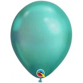 "Globos Latex 7"" Chrome Verde Qualatex"