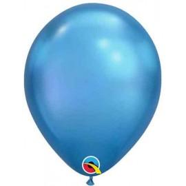 "Globos Latex 7"" Chrome Azul Qualatex"