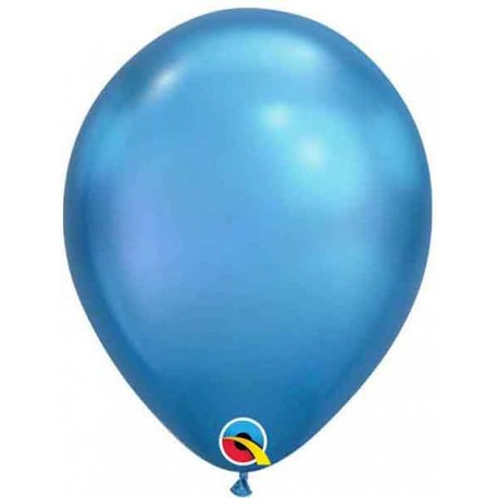 "Globos Latex 7"" Chrome Azul Qualatex"