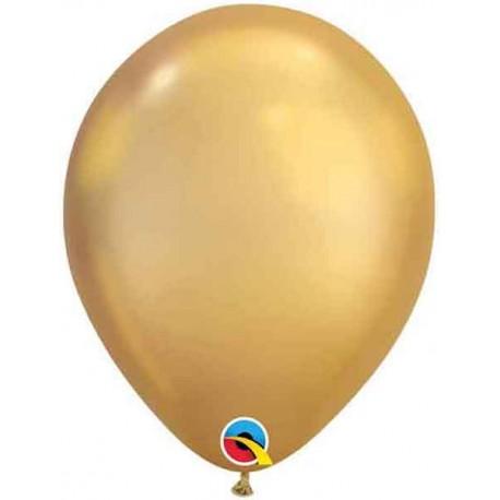 "Globos Latex 7"" Chrome Oro Qualatex"