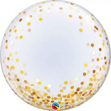 """Globos de 24"""" Bubbles Deco Confeti Oro"""