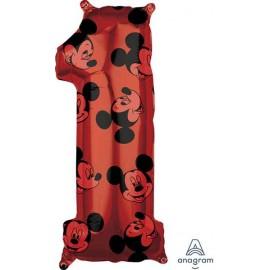 """Globos Foil 26"""" (66cm) x 11"""" (27Cm) Número 1 Mickey"""
