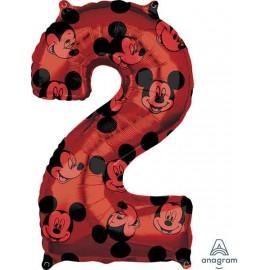 """Globos Foil 26"""" (66cm) x 17"""" (43Cm) Número 2 Mickey"""