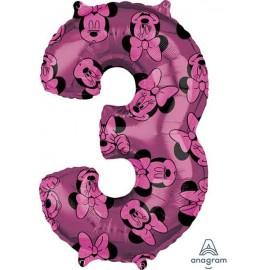 "Globos Foil 26"" (66cm) x 17"" (43Cm) Número 3 Minnie"