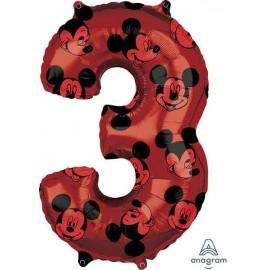 """Globos Foil 26"""" (66cm) x 17"""" (43Cm) Número 3 Mickey"""