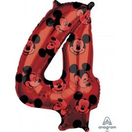 """Globos Foil 26"""" (66cm) x 18"""" (43Cm) Número 4 Mickey"""