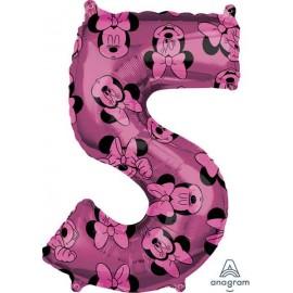 """Globos de Foil 26"""" (66cm) x 18"""" (45Cm) Número 5 Minnie"""