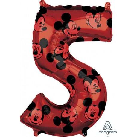 """Globos Foil 26"""" (66cm) x 18"""" (45Cm) Número 5 Mickey"""