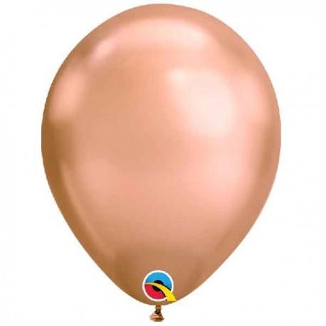 """Globos Redondos 11"""" Chrome Oro Rosado Qualatex"""