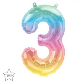 "Globos Foil 16"" (41cm) Numero ""3"" Multicolor"