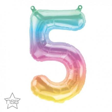 "Globos Foil 16"" (41cm) Numero ""5"" Multicolor"