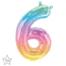 "Globos Foil 16"" (41cm) Numero ""6"" Multicolor"