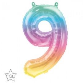 "Globos Foil 16"" (41cm) Numero ""9"" Multicolor"