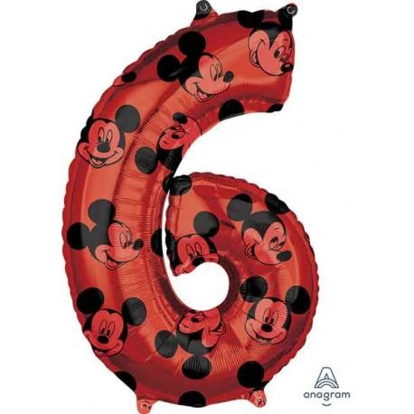 """Globos Foil 26"""" (66cm) x 17"""" (43Cm) Número 6 Mickey"""