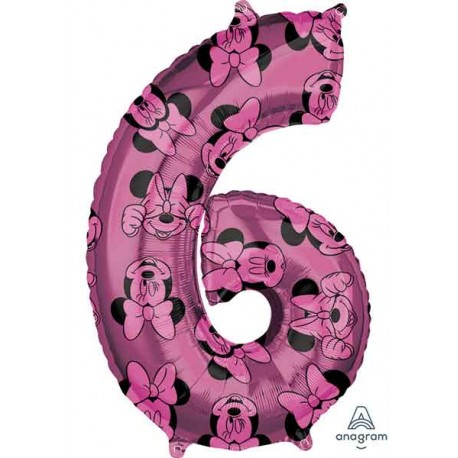 "Globos Foil 26"" (66cm) x 17"" (43Cm) Número 6 Minnie"