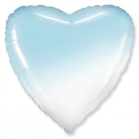 "Globos Foil Corazones 18"" Azul Degra Blanco"