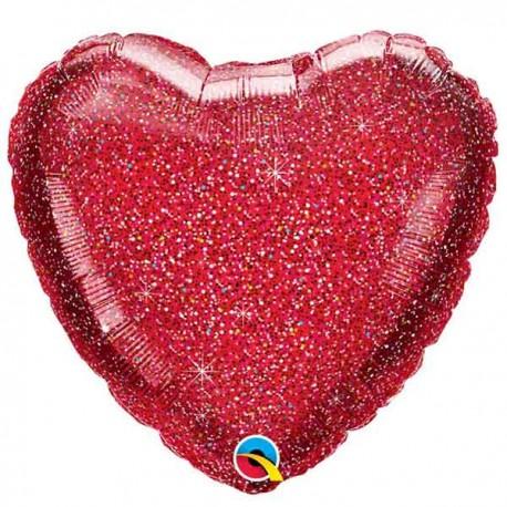"""Globos Foil 18"""" (45Cm) Corazon Glitter"""