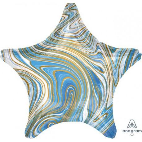 "Globos Foil 19"" Estrella Marblez Azul"