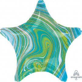 "Globos Foil 19"" Estrella Marblez Azul Verde"