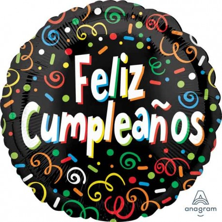"Globos Foil 17"" (43Cm) Feliz Cumpleaños Confeti"