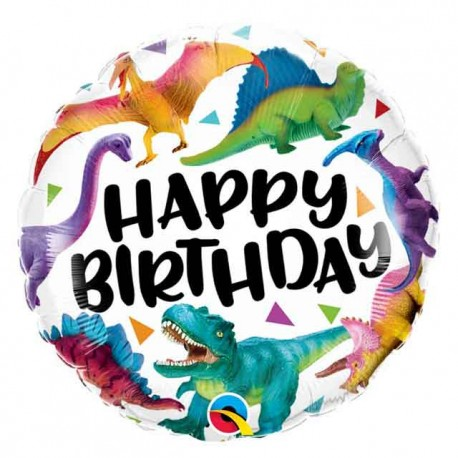 "Globos foil 18"" Birthday Dinosaurios Coloridos"