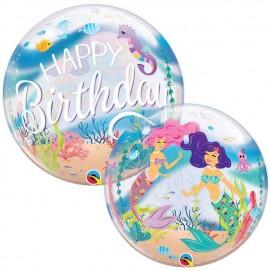 """Globos 22"""" Bubbles Birthday Sirenas"""