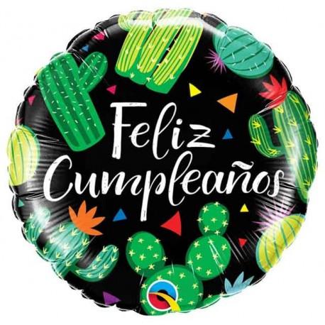 """Globos Foil 18"""" Feliz Cumple Cactus"""